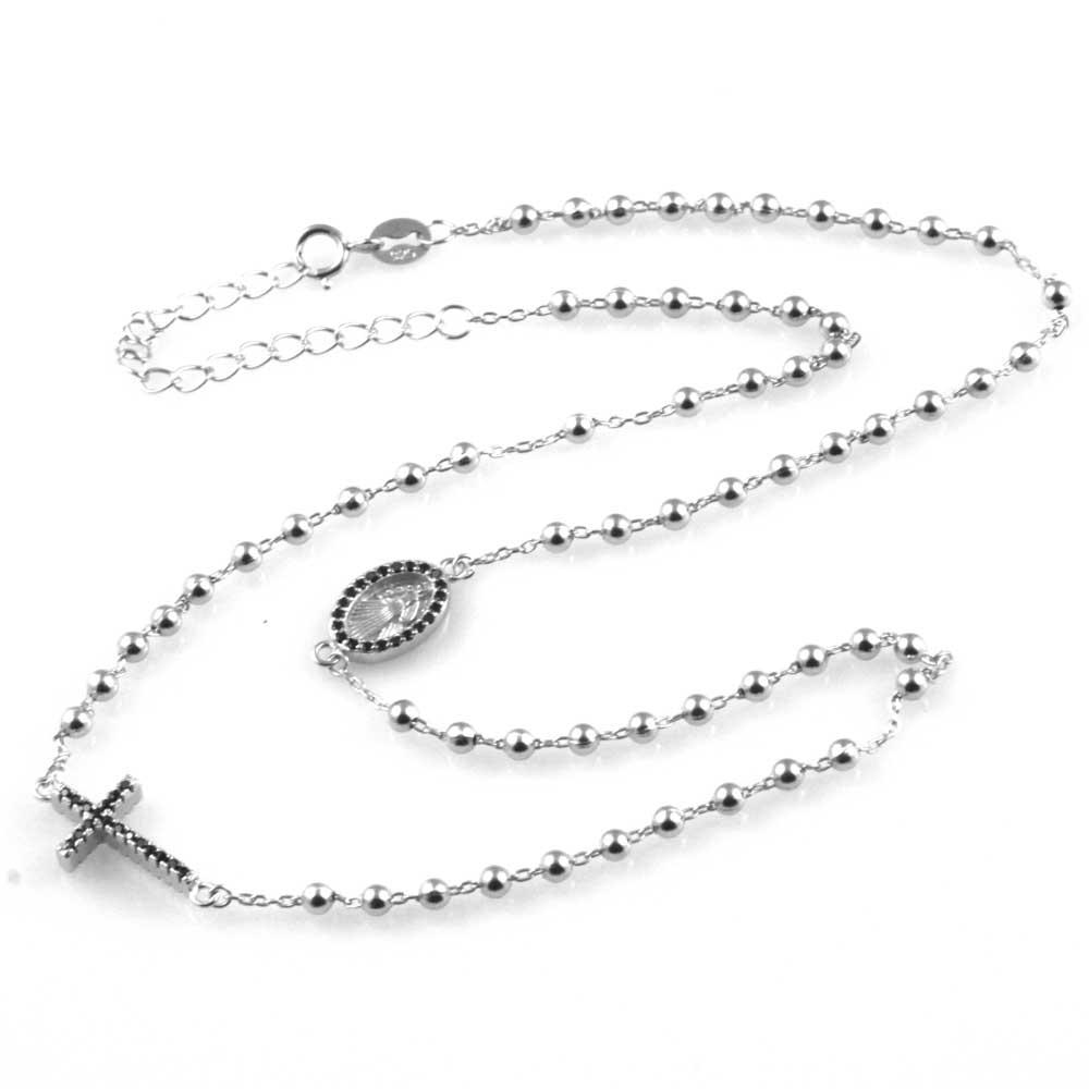 negozio online a4cd4 a1a80 collana rosario in argento 925 e strass zirconi gioiello ...